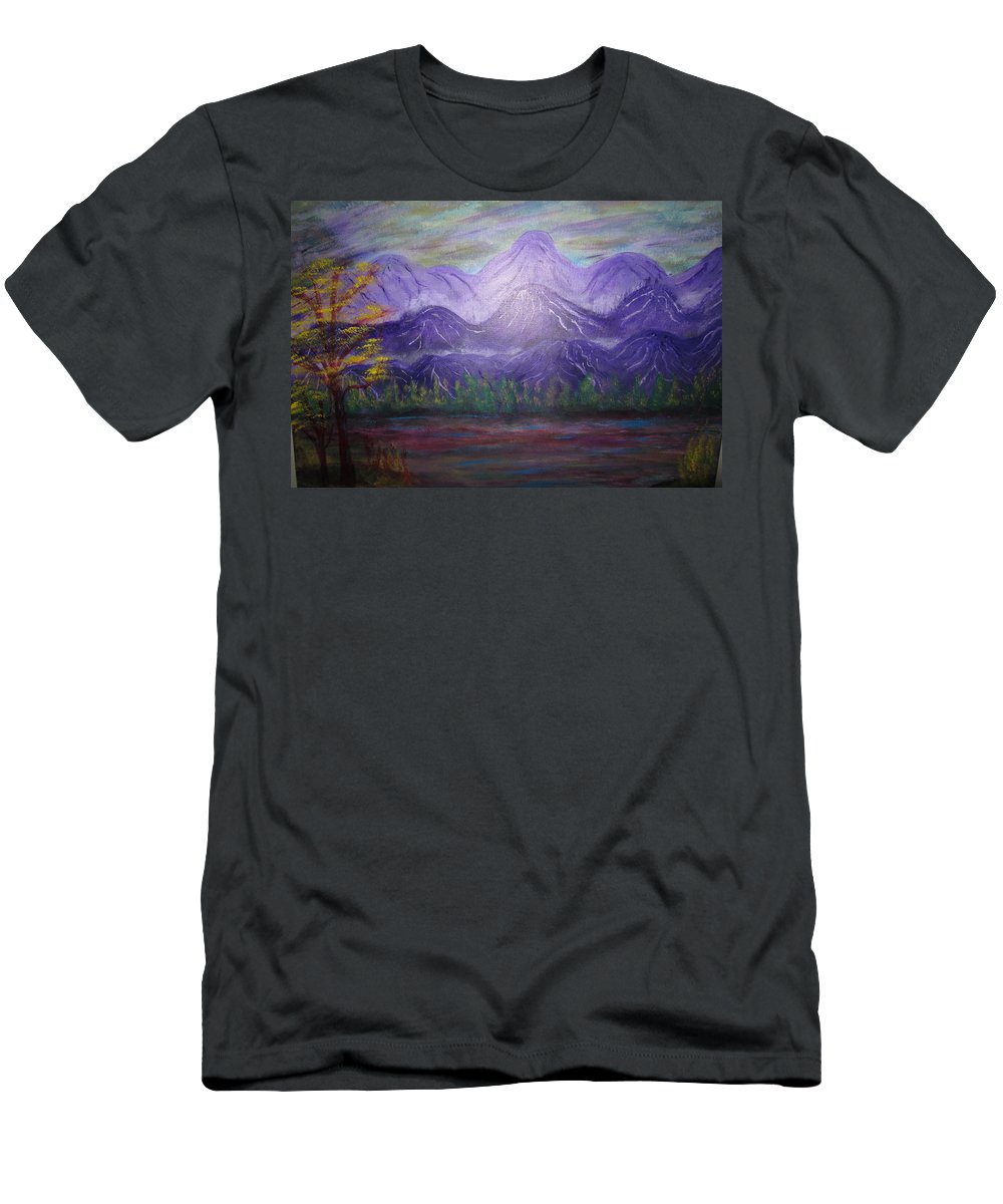 Mountains Men's T-Shirt (Athletic Fit) featuring the painting Majestic Mountains by Michael Messina