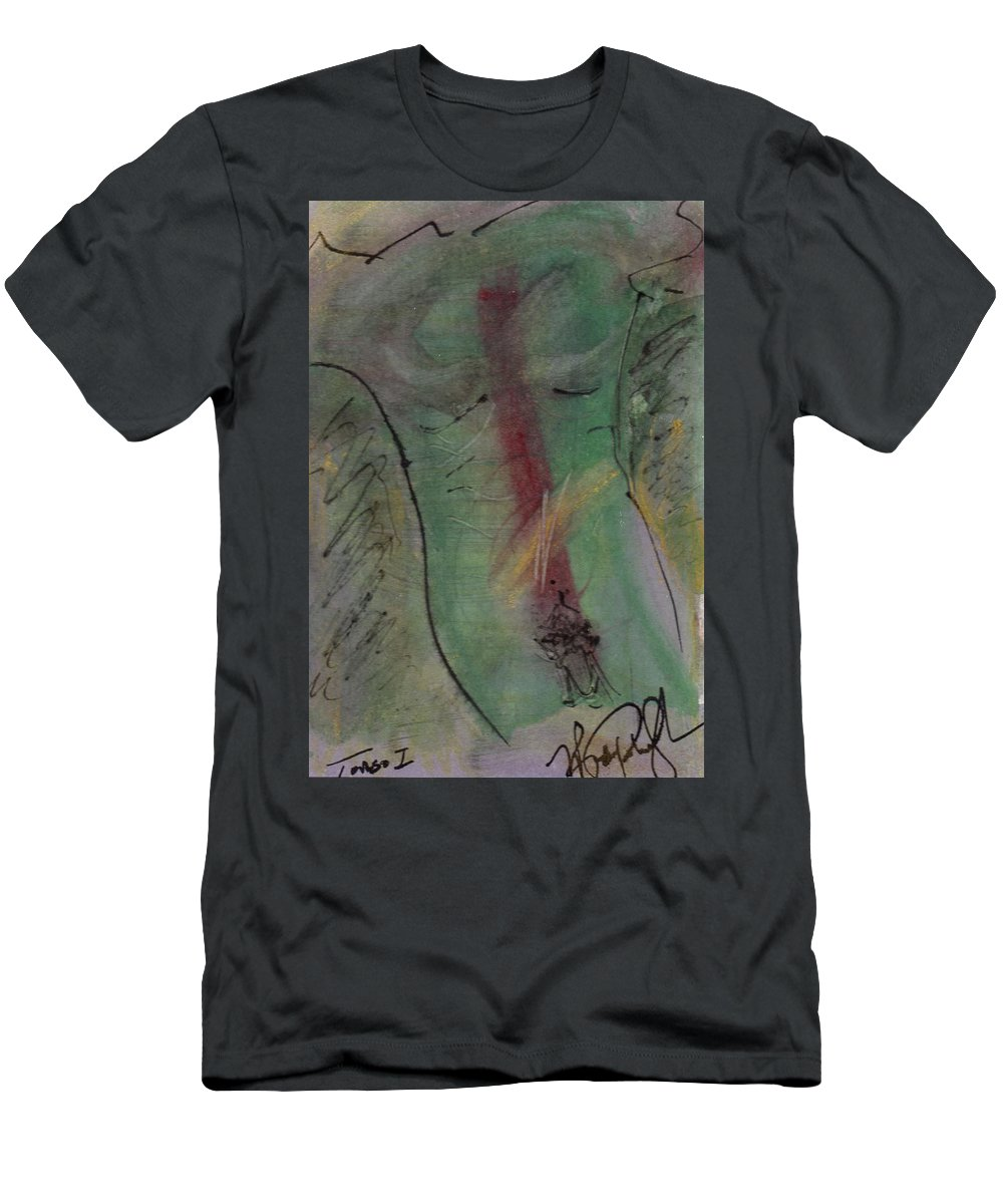 Nude Men's T-Shirt (Athletic Fit) featuring the painting Male Nude Torso 1 by Wayne Potrafka