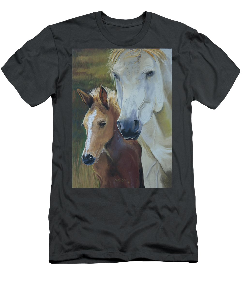 Horses Men's T-Shirt (Athletic Fit) featuring the painting Mama's Boy by Heather Coen