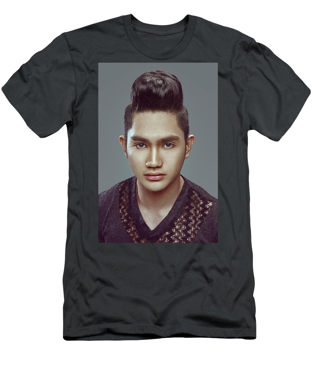 Asian Men's T-Shirt (Athletic Fit) featuring the photograph Man With Modern Bun Hairstyle In Black Shirt by Gemree Mangilit