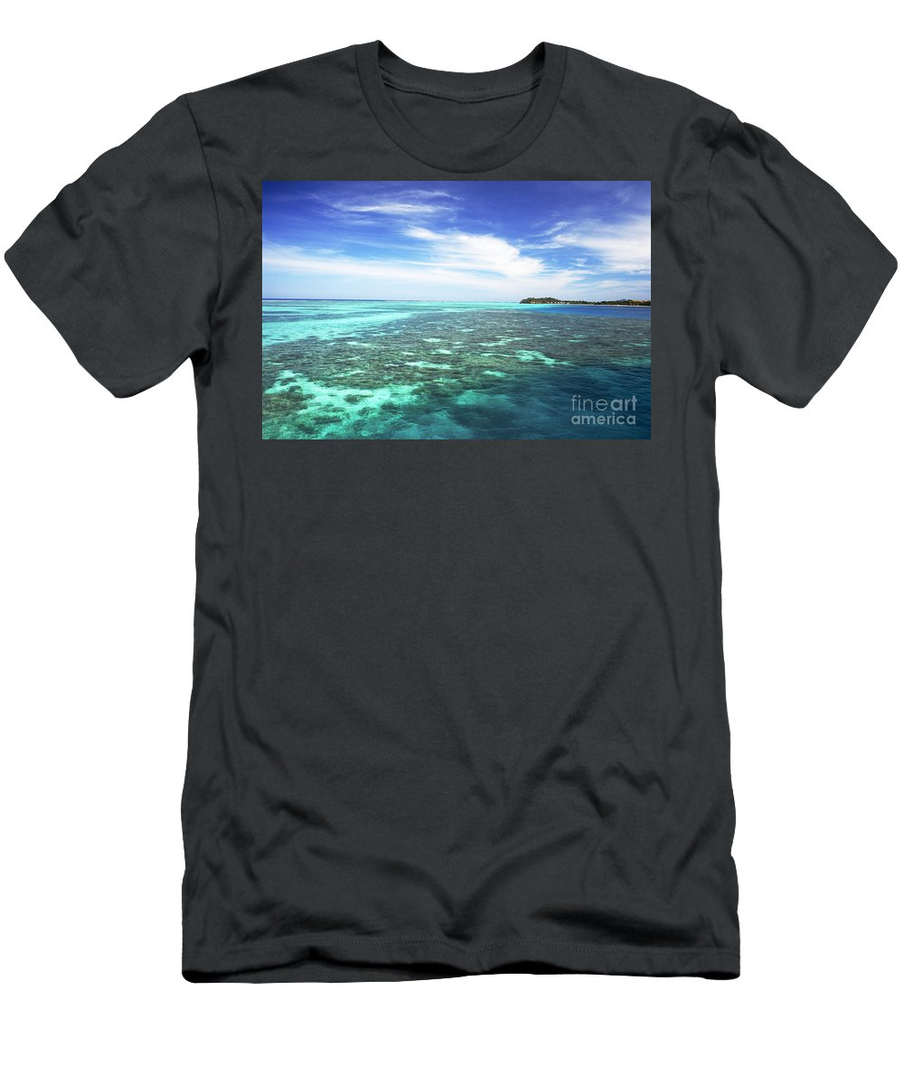 Afternoon Men's T-Shirt (Athletic Fit) featuring the photograph Mana Island Waters by Himani - Printscapes