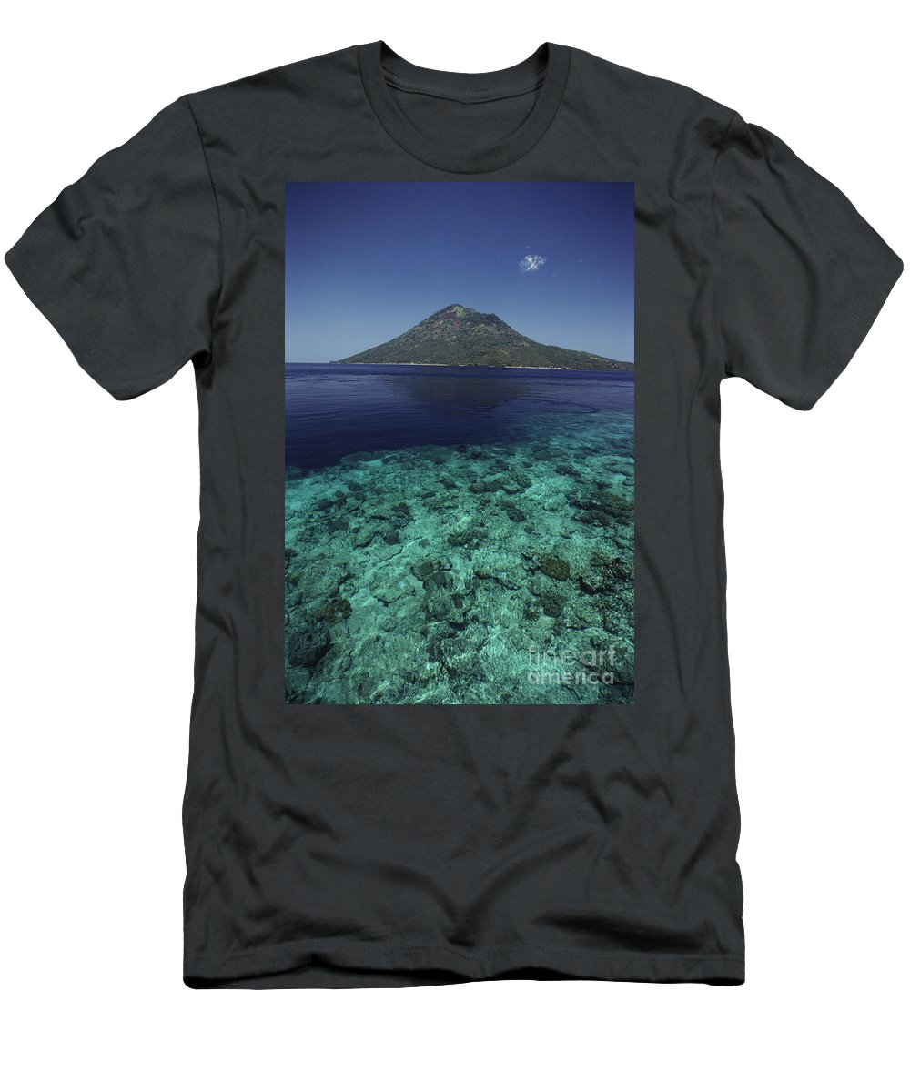 Above Men's T-Shirt (Athletic Fit) featuring the photograph Manado Tua Island by Ed Robinson - Printscapes