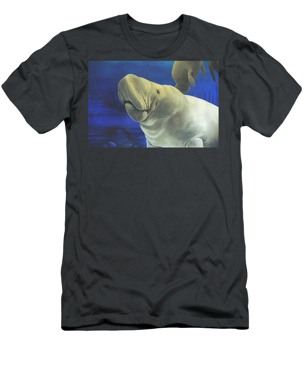 Manatee Men's T-Shirt (Athletic Fit) featuring the painting Manatee by Cindy D Chinn
