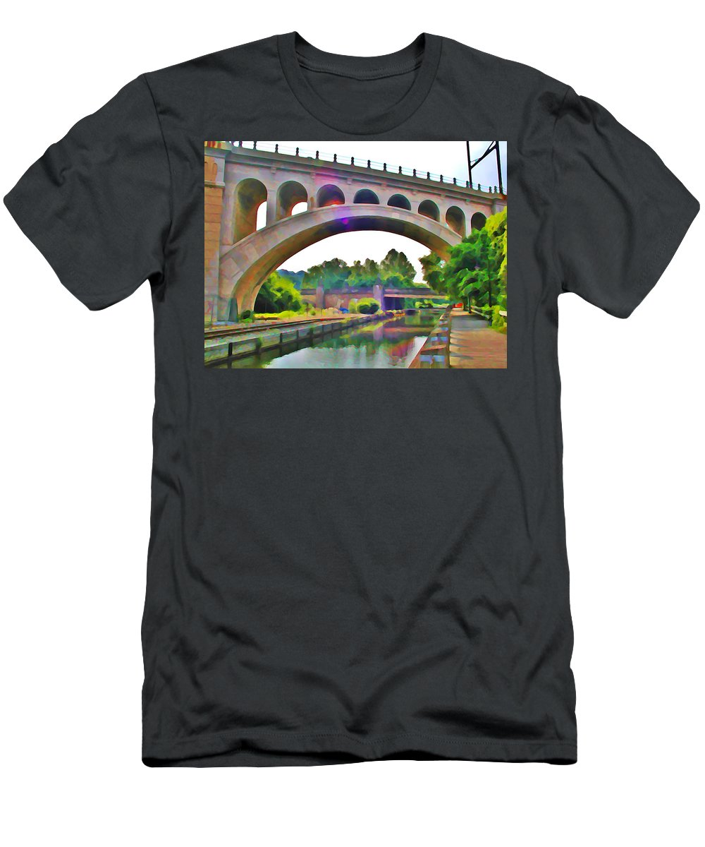 Philadelphia Men's T-Shirt (Athletic Fit) featuring the photograph Manayunk Canal by Bill Cannon