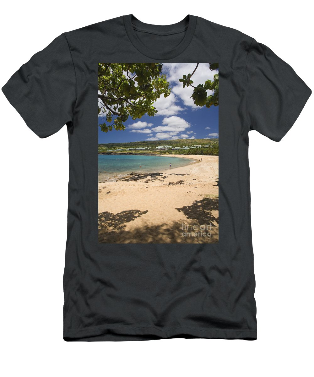 Bay Men's T-Shirt (Athletic Fit) featuring the photograph Manele Bay by Ron Dahlquist - Printscapes