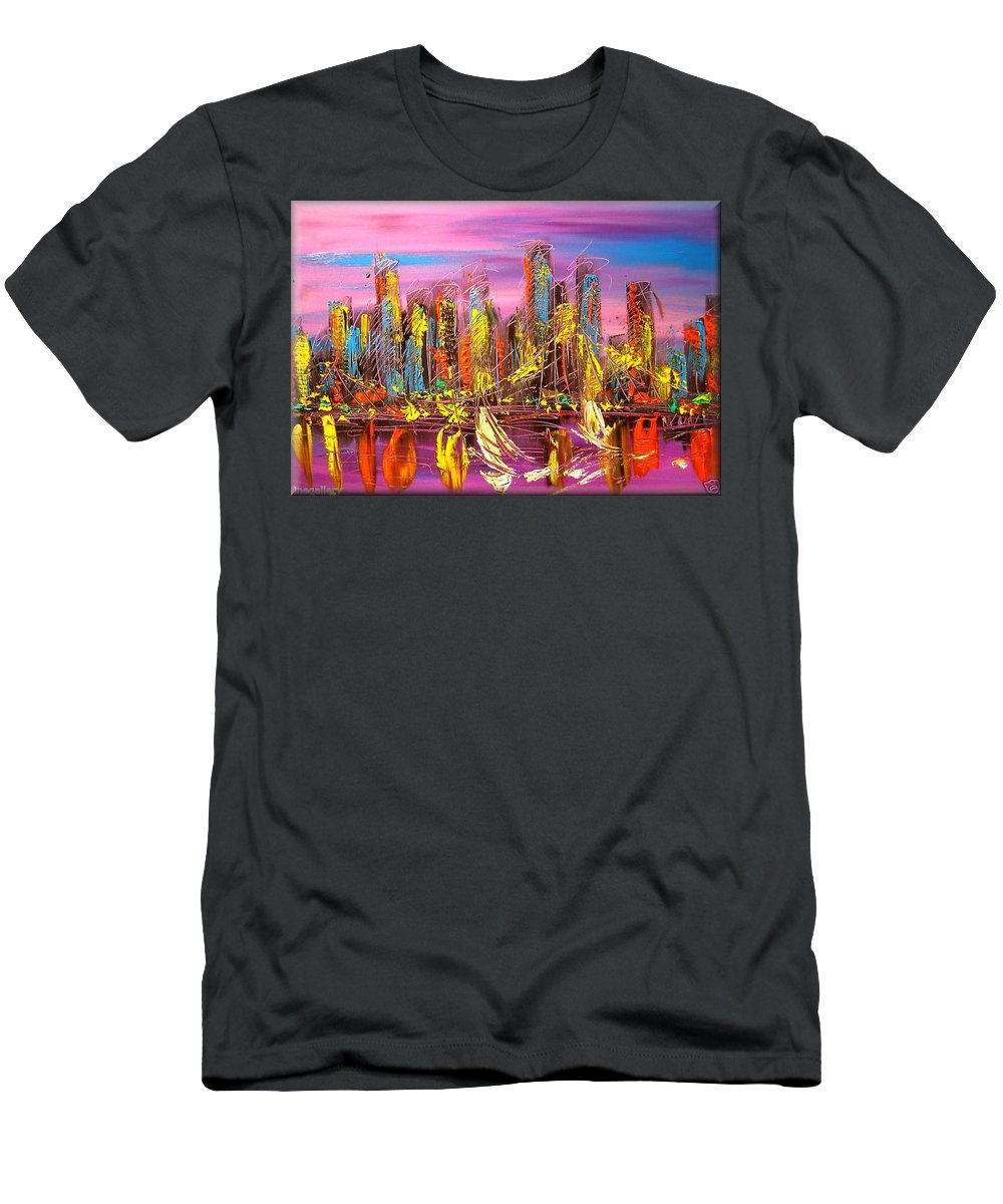 Manhattan New York Kazav Cityscape Men's T-Shirt (Athletic Fit) featuring the painting Manhattan Purple By Mark Kazav by Mark Kazav