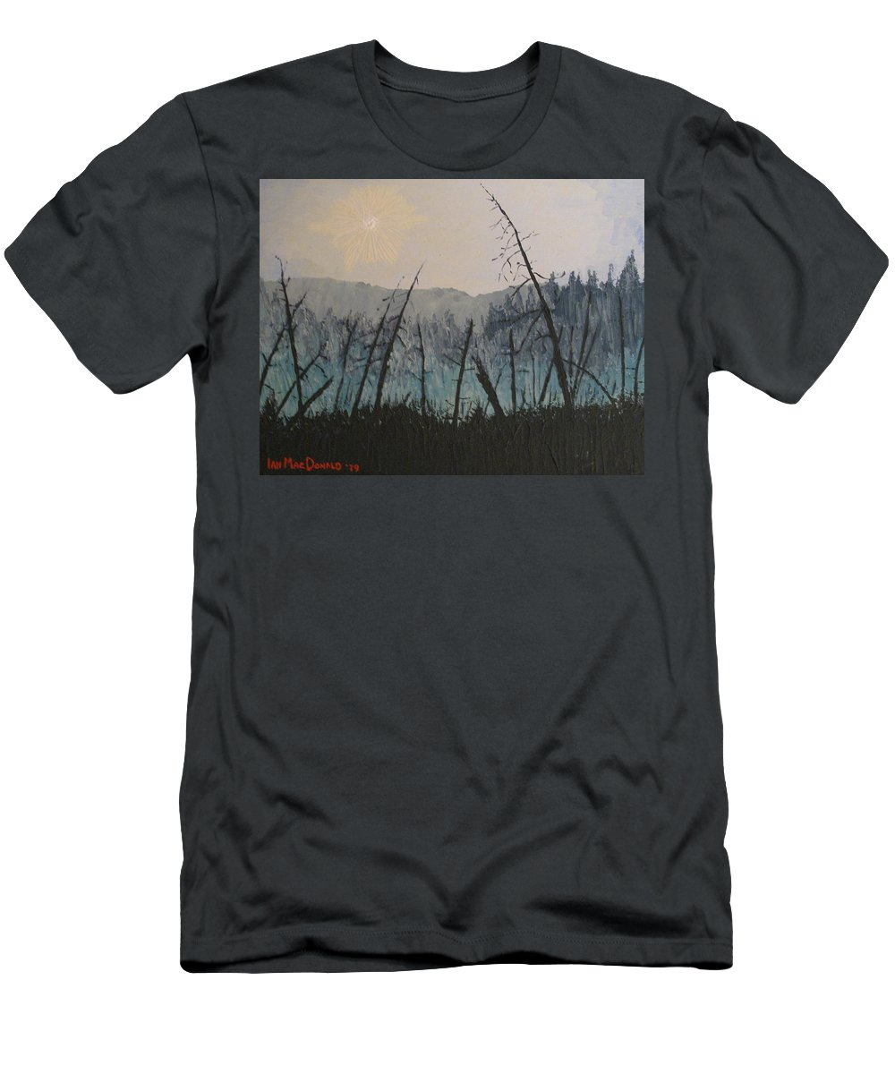 Northern Ontario Men's T-Shirt (Athletic Fit) featuring the painting Manitoulin Beaver Meadow by Ian MacDonald