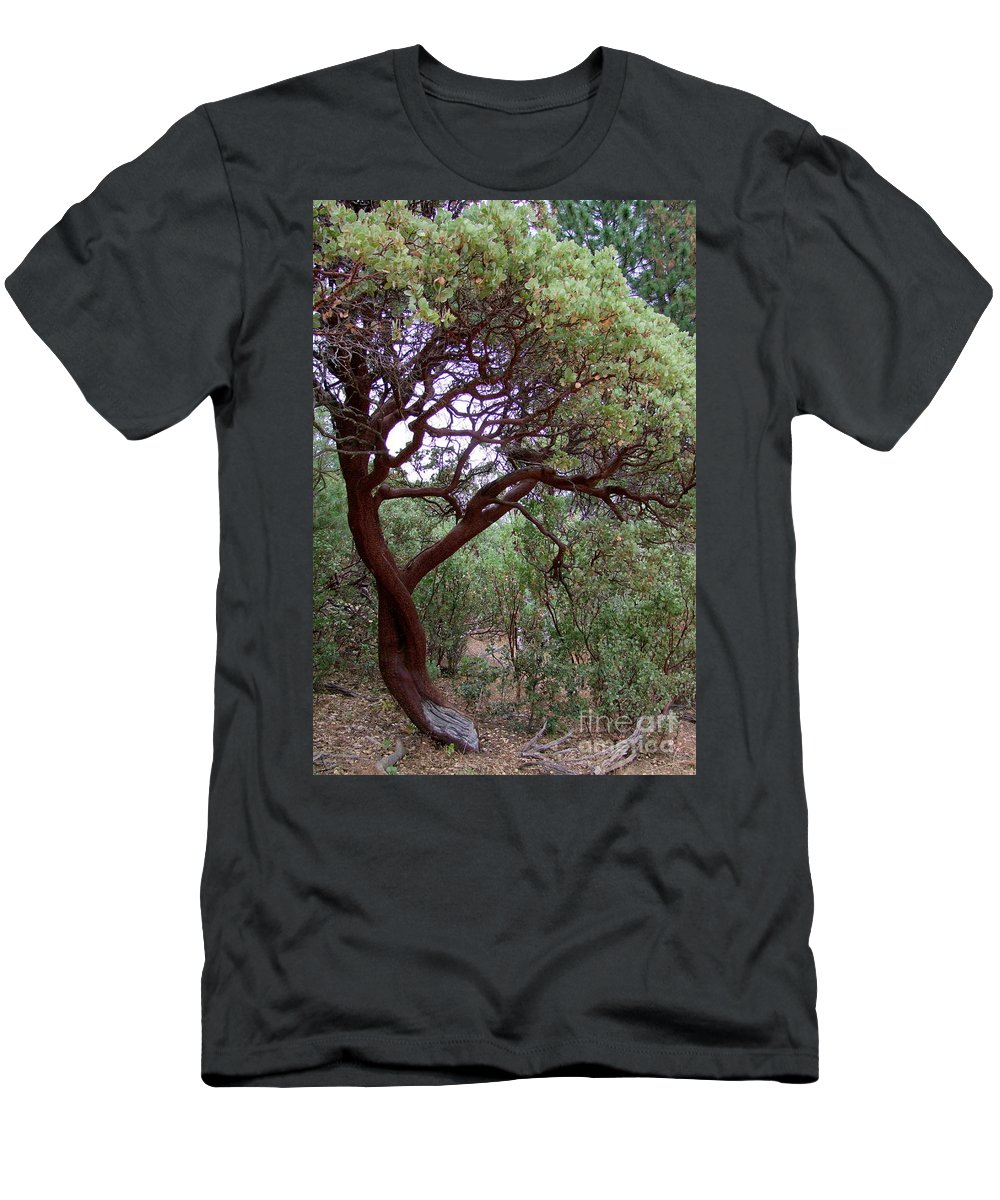 Manzanita Tree Men's T-Shirt (Athletic Fit) featuring the photograph Manzanita Tree By The Road by Mary Deal