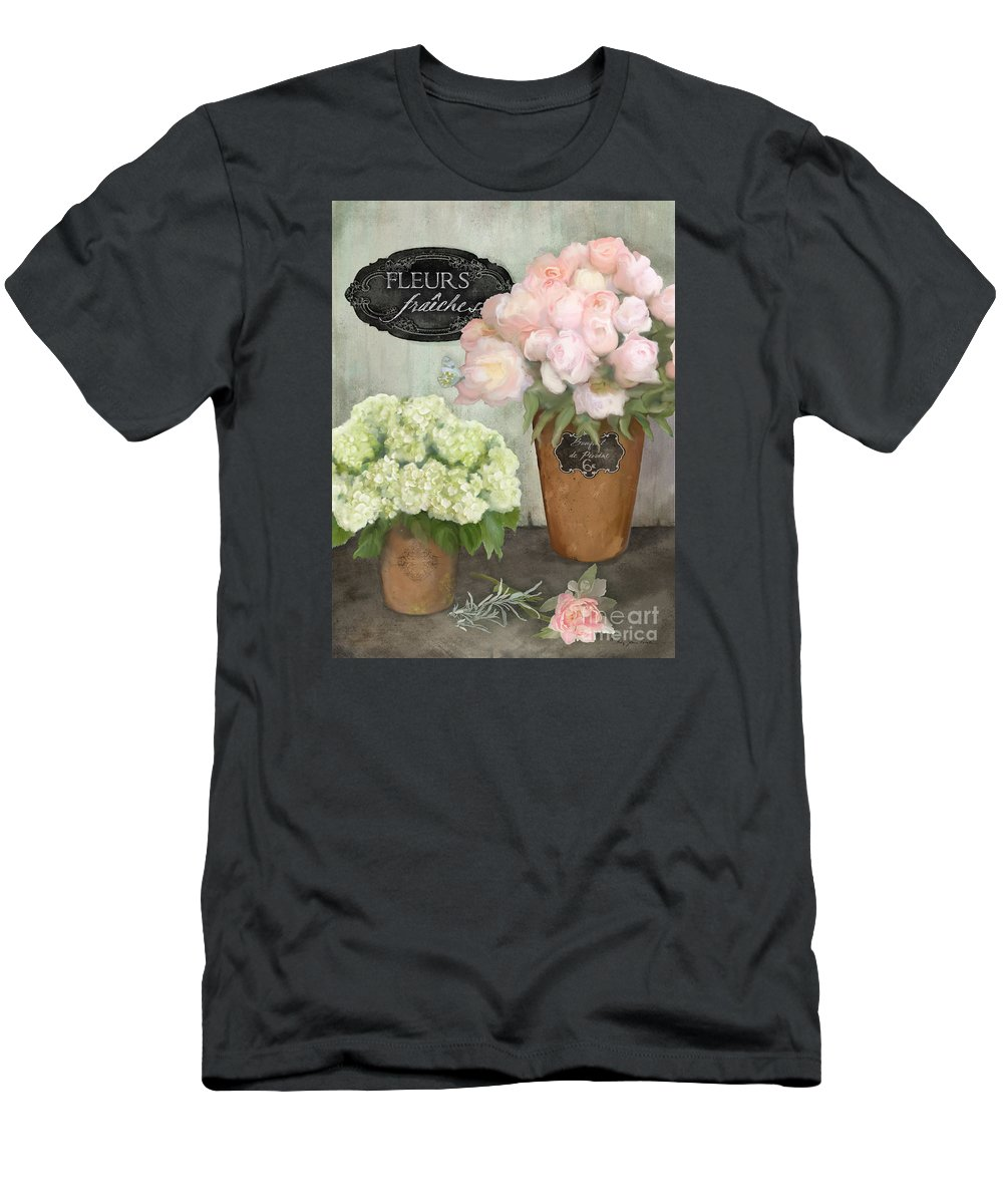 French Flower Market Men's T-Shirt (Athletic Fit) featuring the painting Marche Aux Fleurs 2 - Peonies N Hydrangeas by Audrey Jeanne Roberts
