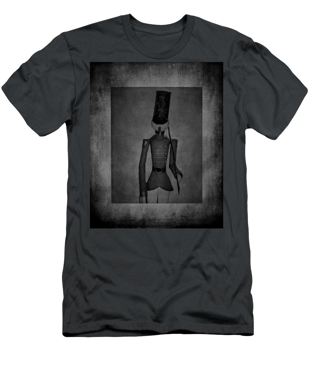 Soldier Men's T-Shirt (Athletic Fit) featuring the photograph Marching Soldier Bw by Lesa Fine