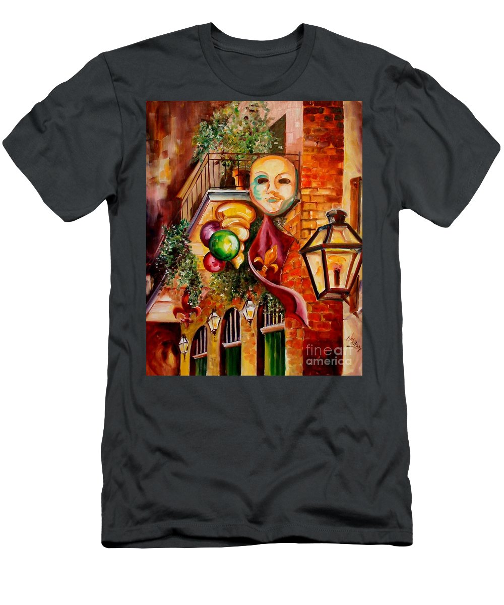 New Orleans Men's T-Shirt (Athletic Fit) featuring the painting Mardi Gras Night by Diane Millsap