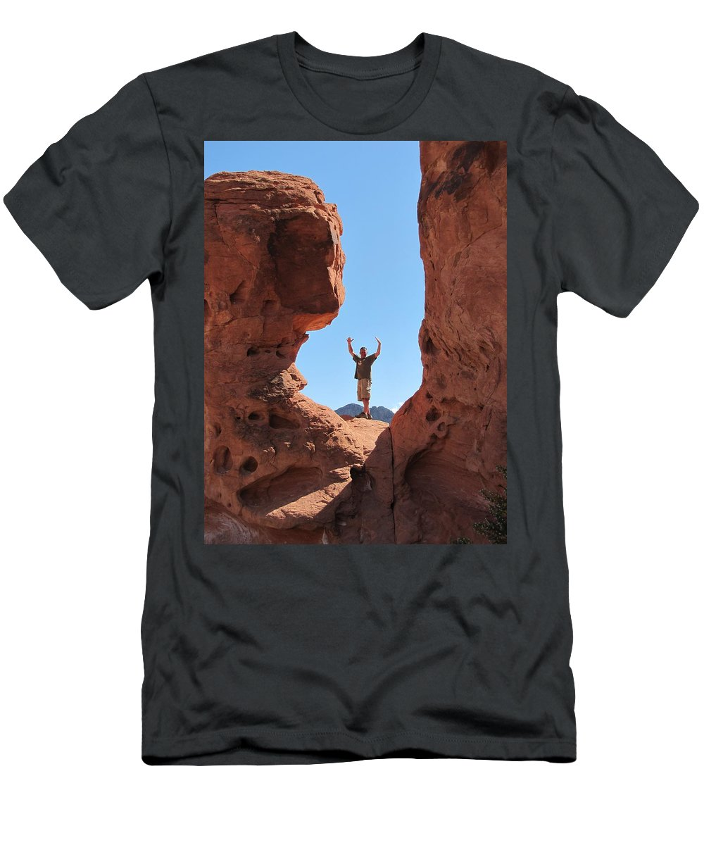 Valley Of Fire Men's T-Shirt (Athletic Fit) featuring the photograph Mark In Valley by Kelly Mezzapelle