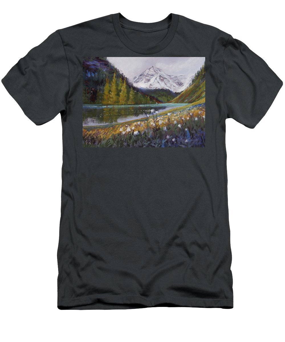 Maroon Lake Men's T-Shirt (Athletic Fit) featuring the photograph Maroon Lake by Heather Coen