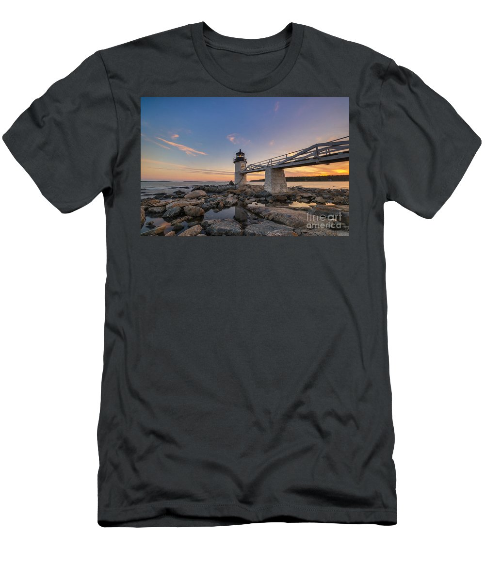 Marshall Point Lighthouse Men's T-Shirt (Athletic Fit) featuring the photograph Marshall Point Lighthouse Reflections by Michael Ver Sprill