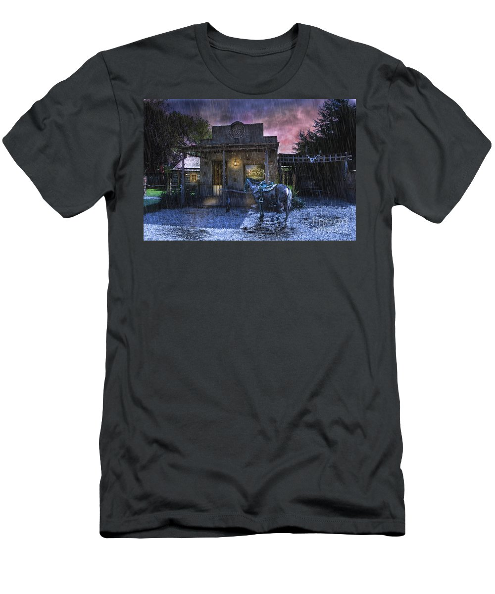 Western Art Men's T-Shirt (Athletic Fit) featuring the photograph Marshall's Office by Jan Galland