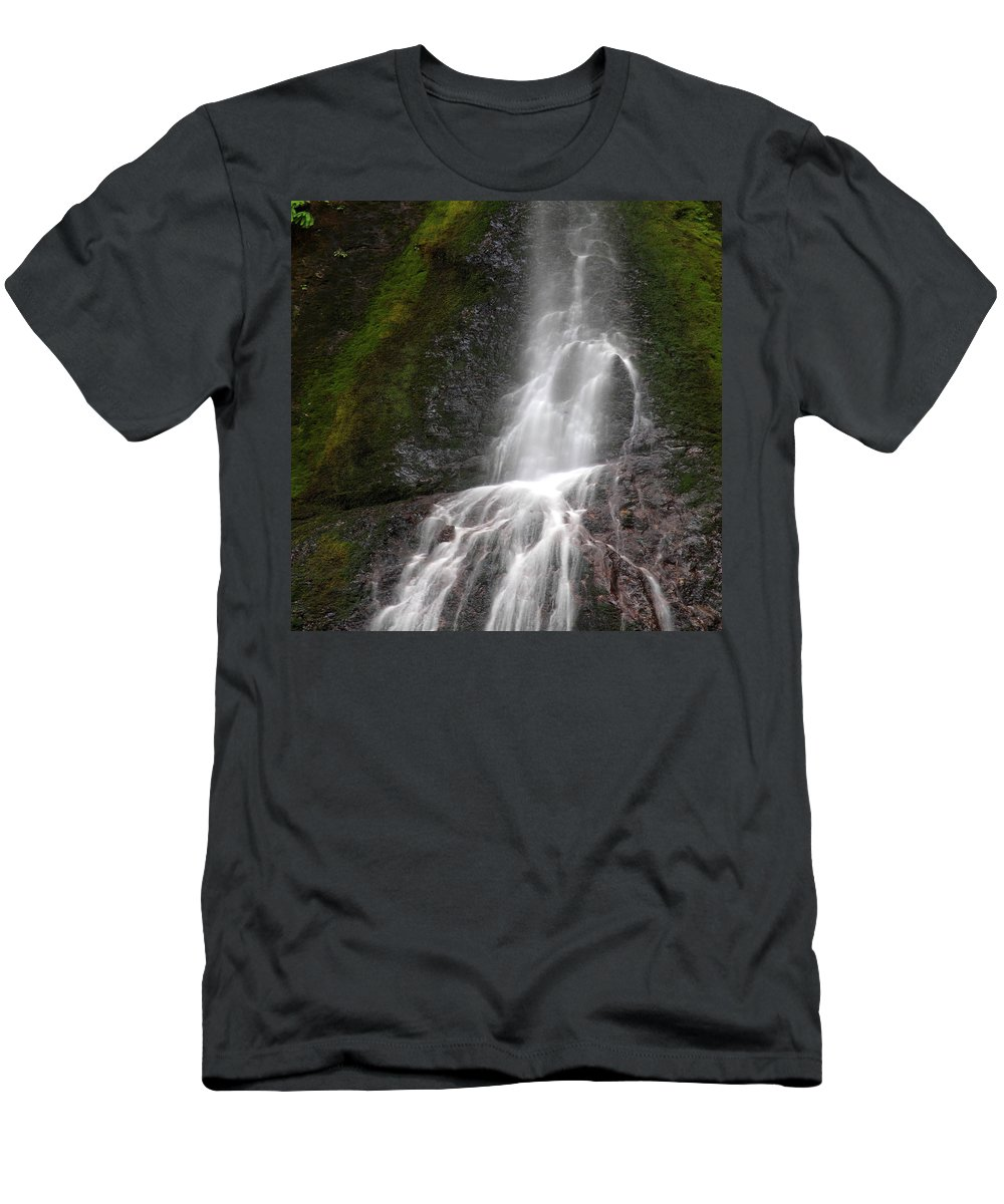 Columbia Gorge Men's T-Shirt (Athletic Fit) featuring the photograph Marymere Falls 2 by Ingrid Smith-Johnsen