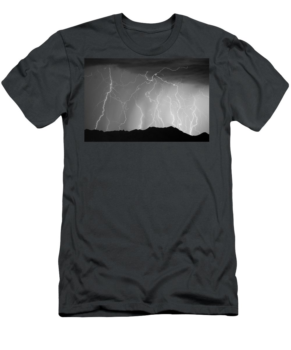 Lightning Men's T-Shirt (Athletic Fit) featuring the photograph Massive Monsoon Lightning Storm Bw by James BO Insogna