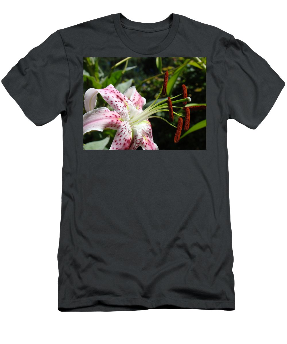 Lilies Men's T-Shirt (Athletic Fit) featuring the photograph Master Gardeners Art Floral Pink Lily Flower Baslee Troutman by Baslee Troutman