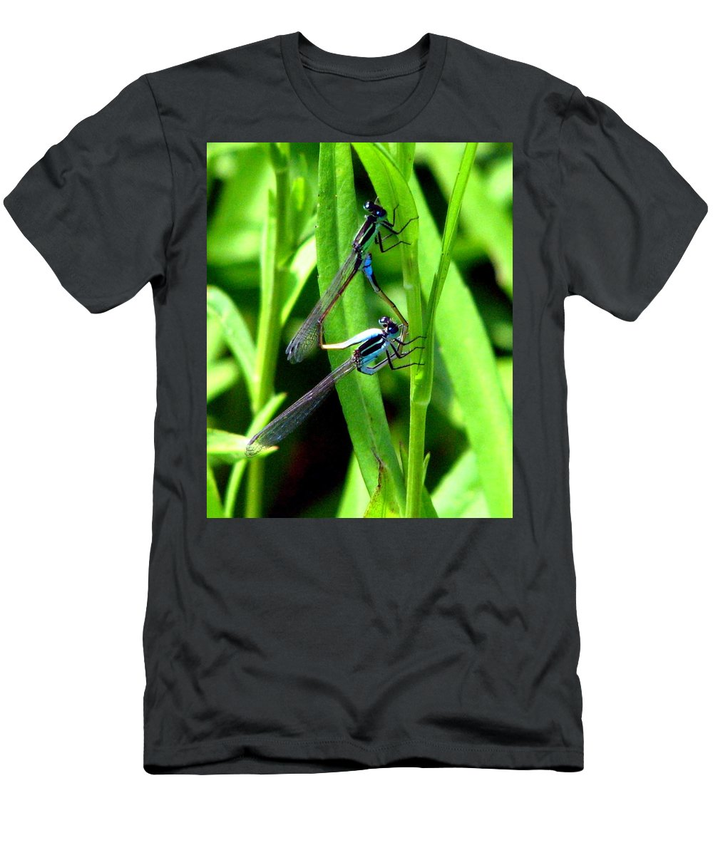 Mating Damselflies Men's T-Shirt (Athletic Fit) featuring the photograph Mating Damselflies by J M Farris Photography
