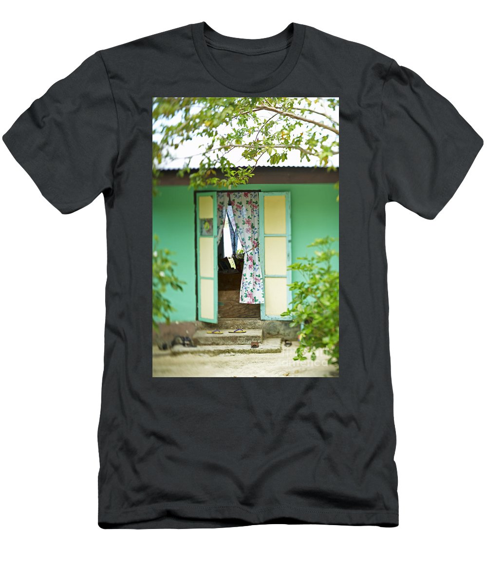 Architecture Men's T-Shirt (Athletic Fit) featuring the photograph Maupiti Doorway by Kyle Rothenborg - Printscapes