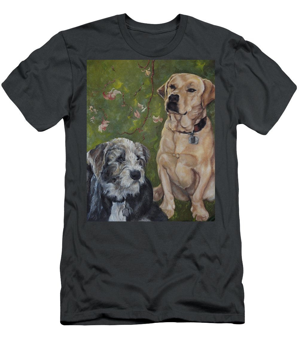 Dogs Men's T-Shirt (Athletic Fit) featuring the painting Max And Molly by Stephanie Broker