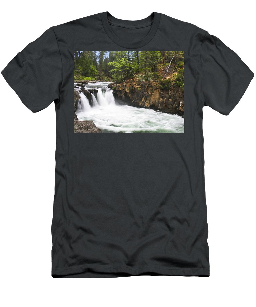Landscape Men's T-Shirt (Athletic Fit) featuring the photograph Mccloud Lowerfalls by Karen W Meyer