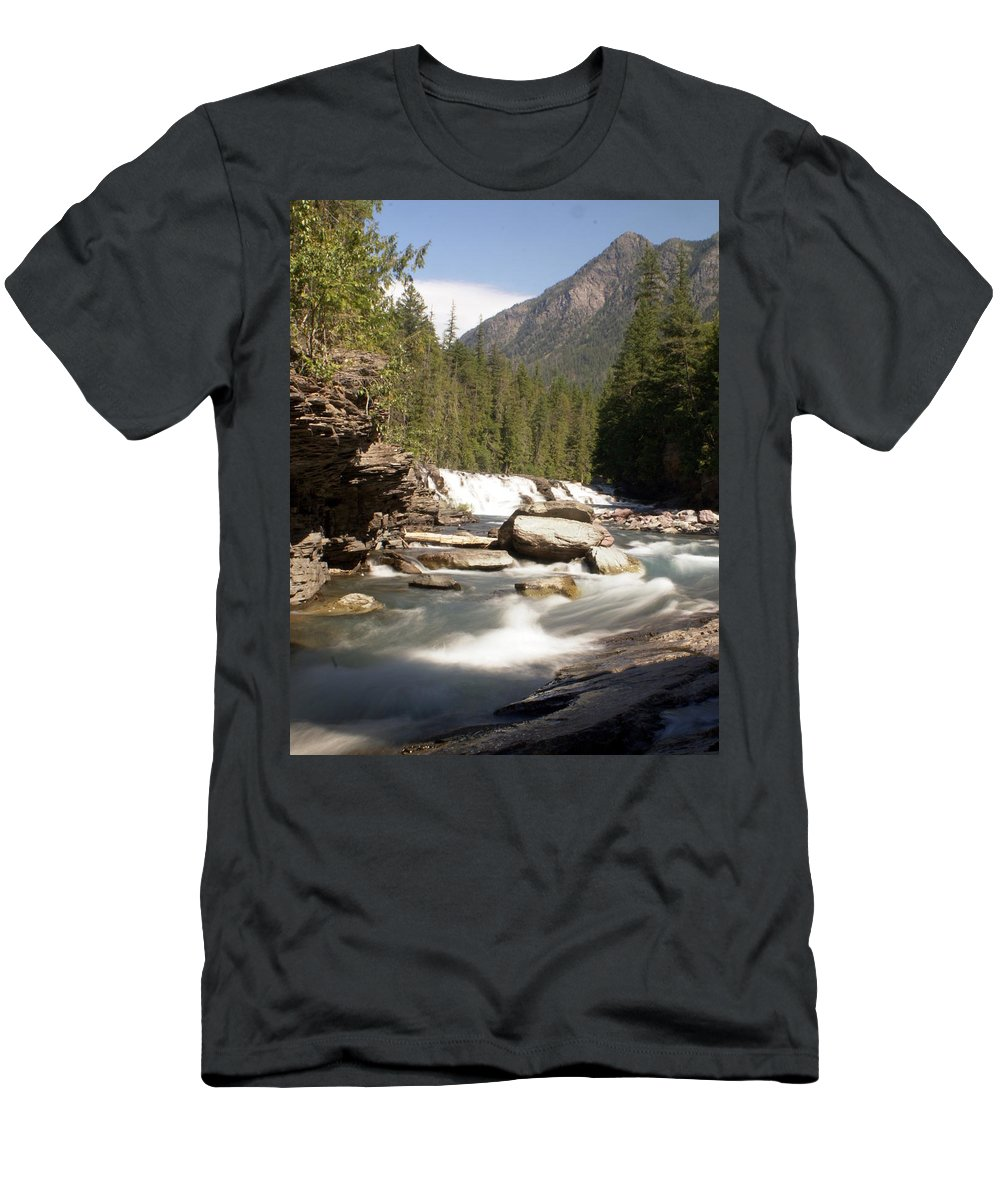 Stream Men's T-Shirt (Athletic Fit) featuring the photograph Mcdonald Creek by Marty Koch