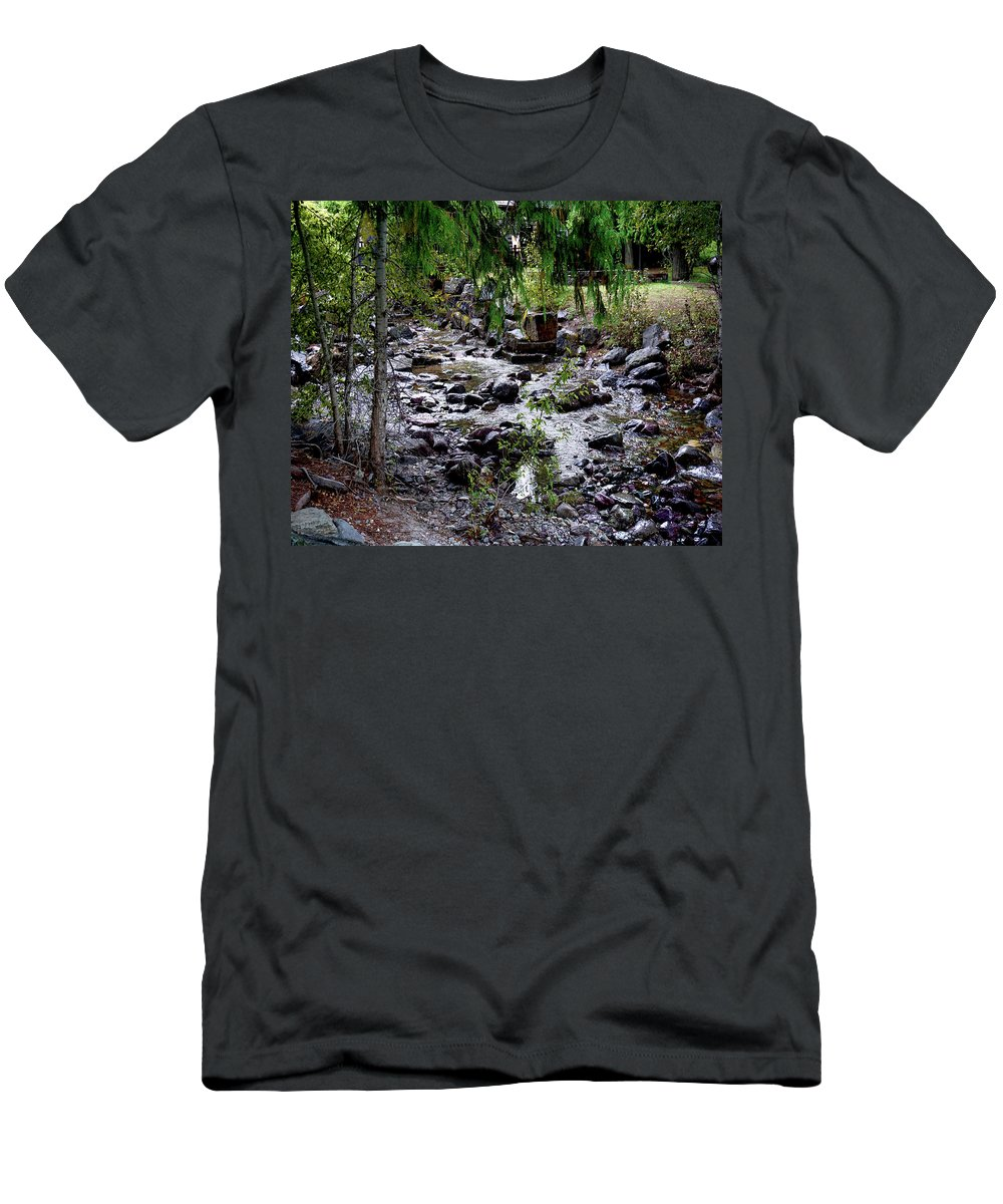 Stream Men's T-Shirt (Athletic Fit) featuring the photograph Mcdonald Lake Stream by Darrell Mcgahhey