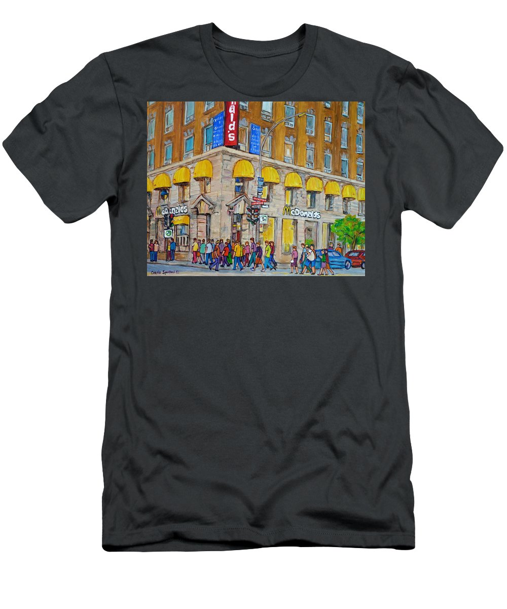 Montreal Men's T-Shirt (Athletic Fit) featuring the painting Mcdonald Restaurant Old Montreal by Carole Spandau