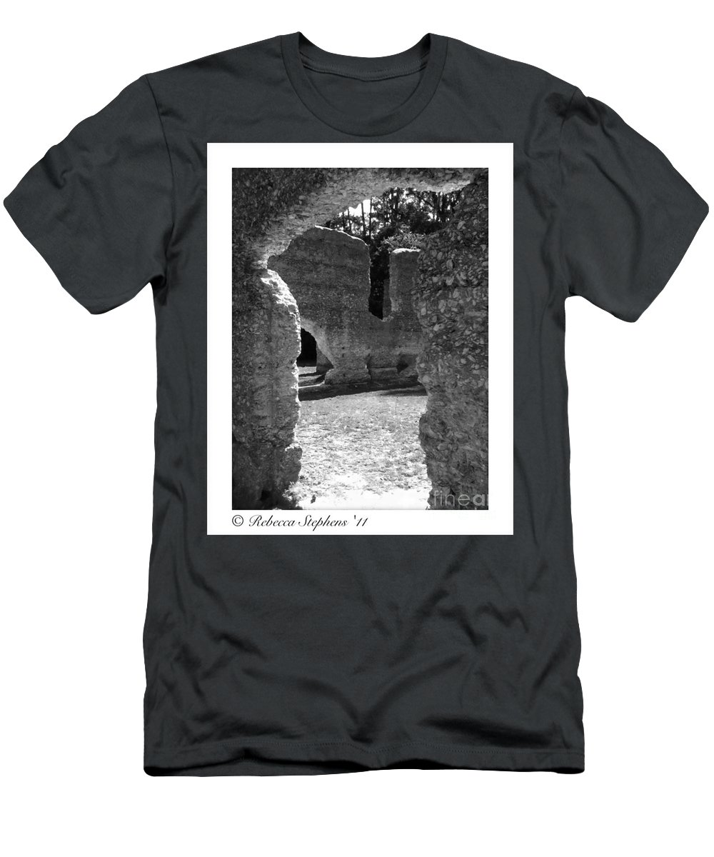 Tabby Men's T-Shirt (Athletic Fit) featuring the photograph Mcintosh Sugar Mill Tabby Ruins by Rebecca Stephens