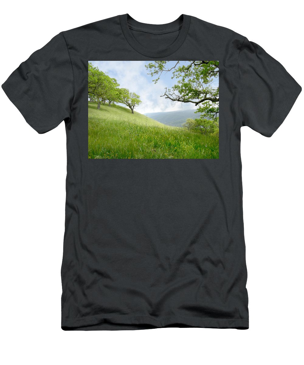Landscape Men's T-Shirt (Athletic Fit) featuring the photograph Meadow View Spring by Karen W Meyer