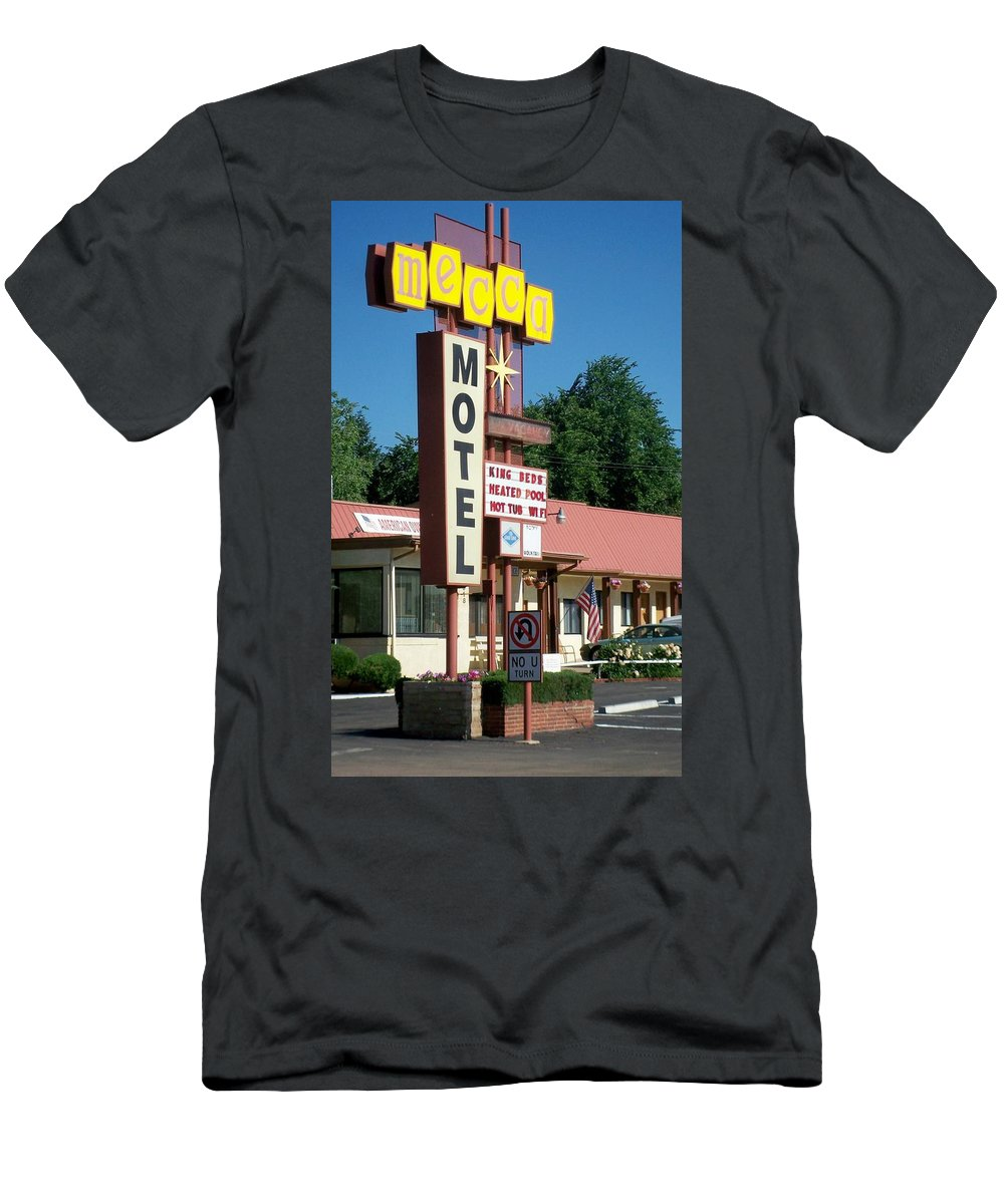 Vintage Motel Signs Men's T-Shirt (Athletic Fit) featuring the photograph Mecca Motel by Anita Burgermeister