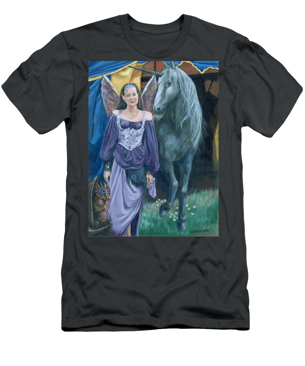 Fairy Faerie Unicorn Dragon Renaissance Festival Men's T-Shirt (Athletic Fit) featuring the painting Medieval Fantasy by Bryan Bustard