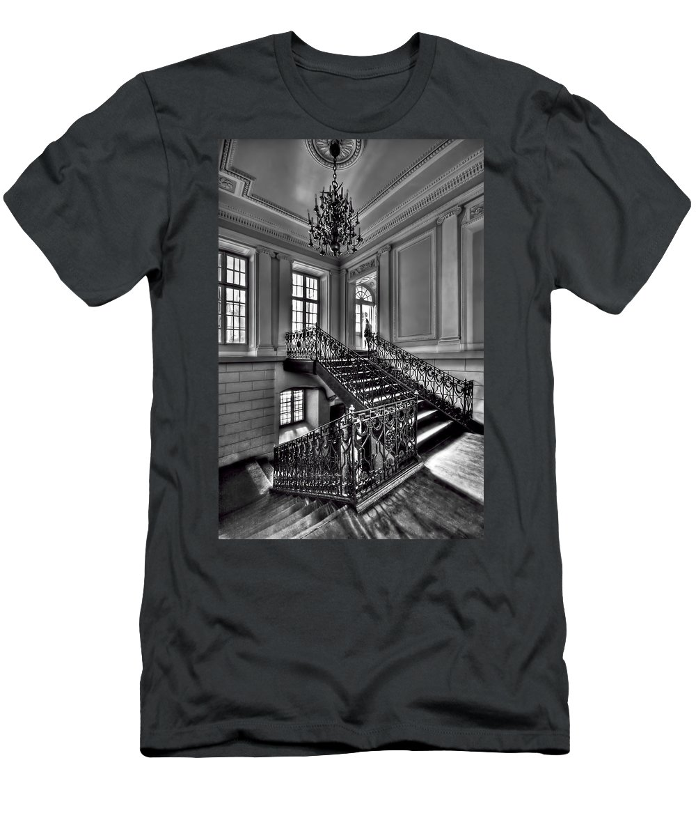 Stair Men's T-Shirt (Athletic Fit) featuring the photograph Meet Me Half Way by Evelina Kremsdorf