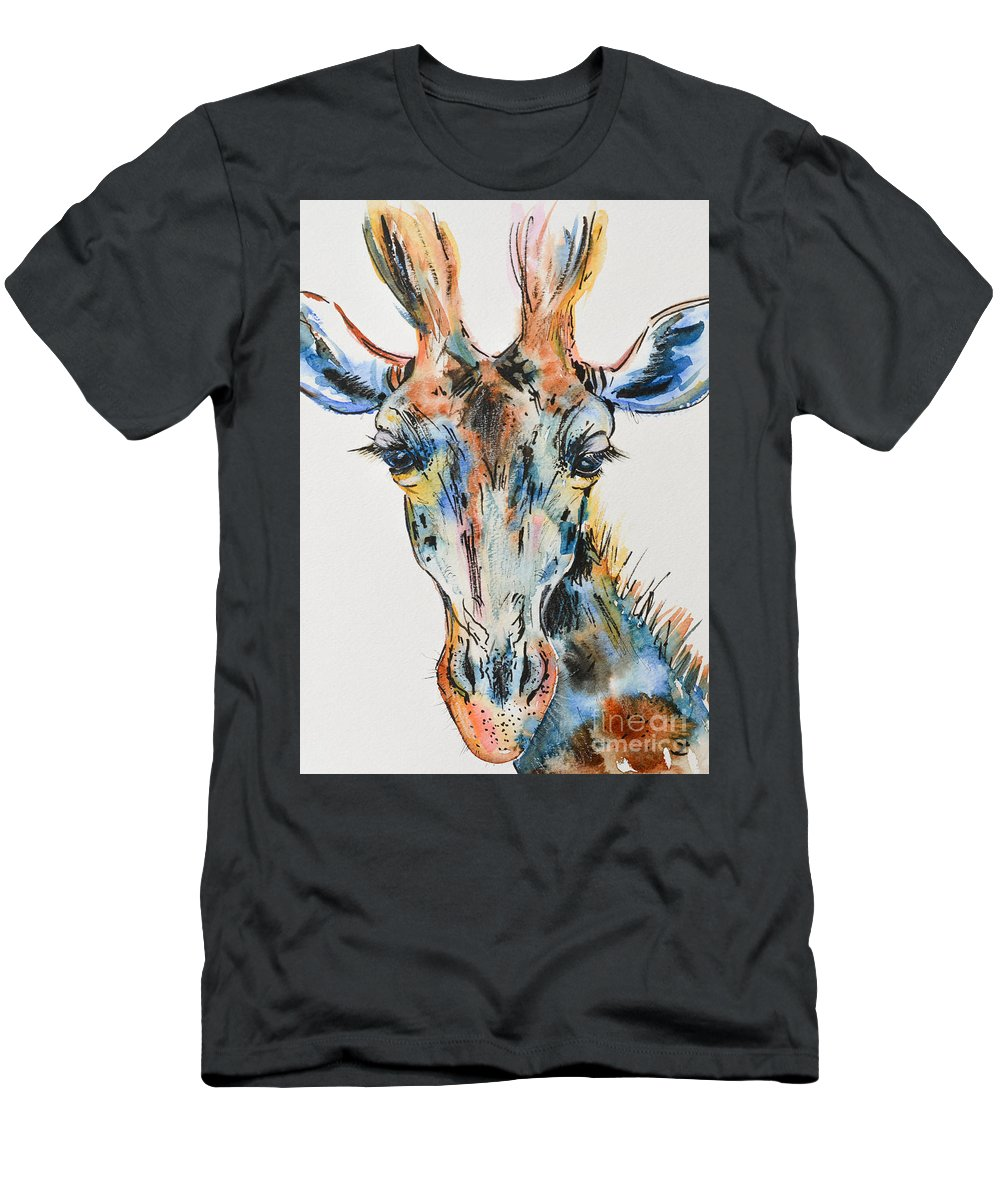 Giraffe Men's T-Shirt (Athletic Fit) featuring the painting Melancholic Giraffe by Zaira Dzhaubaeva