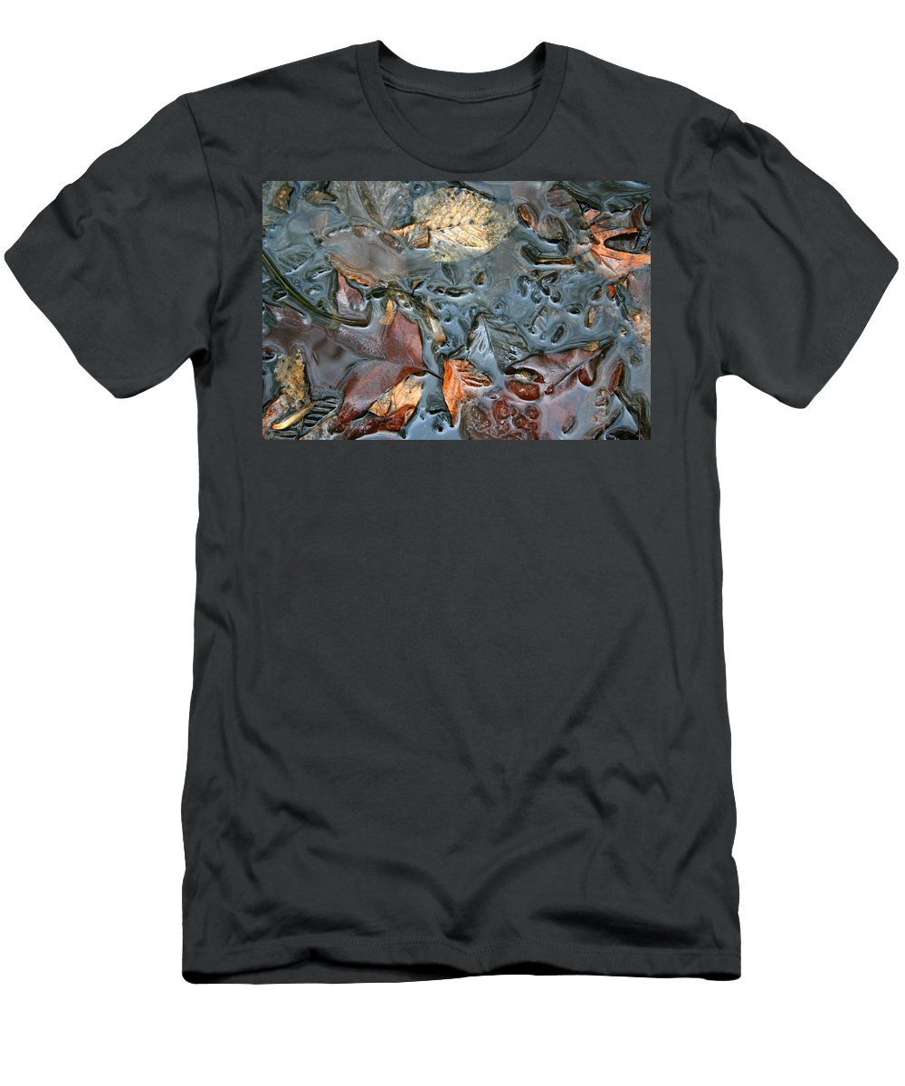 Nature Fall Leaf Leaves Colorful Water Melt Melted Reflect Reflection Outdoors Forest Woods Light Men's T-Shirt (Athletic Fit) featuring the photograph Melted Colors by Andrei Shliakhau