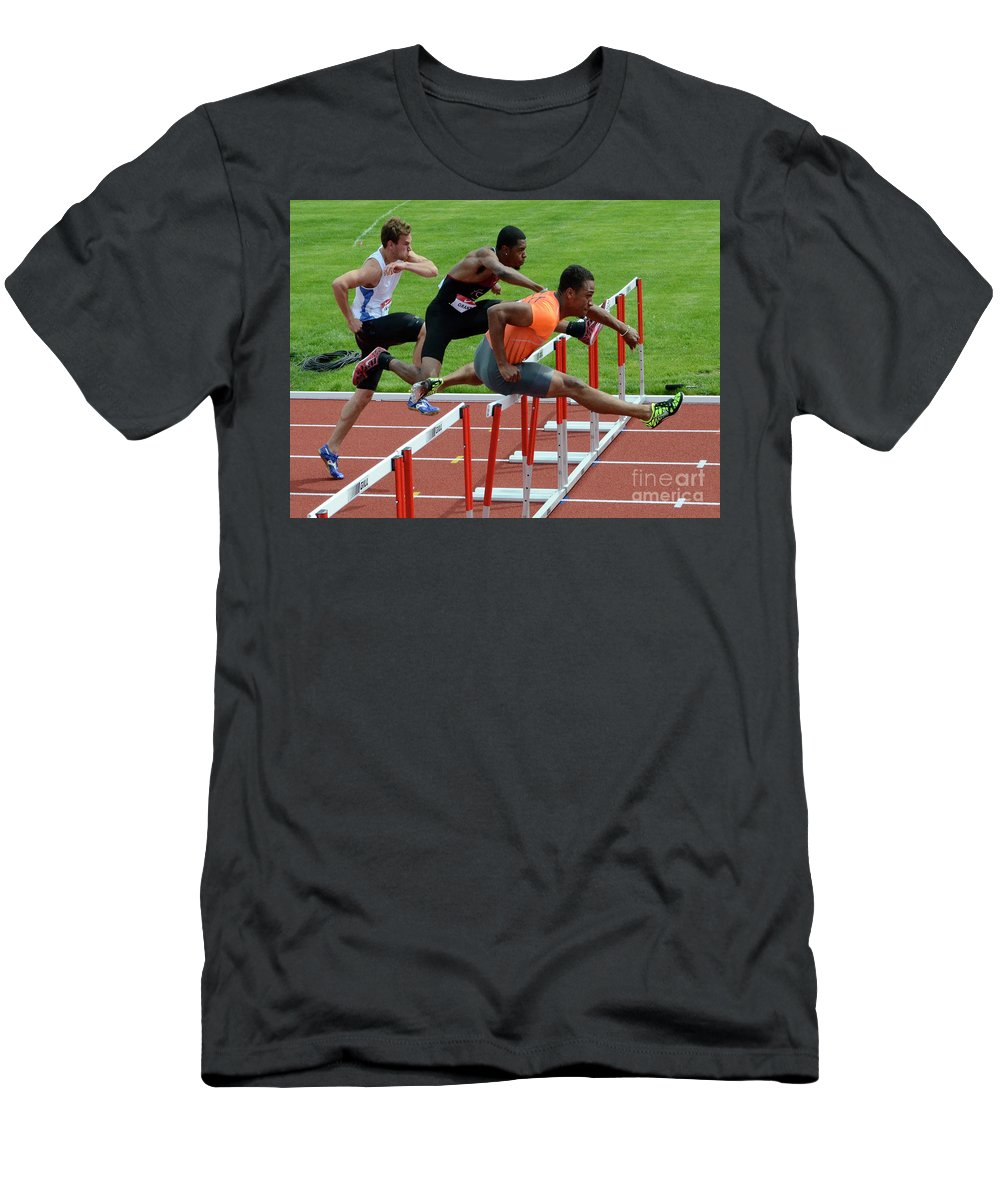 Canadian Track And Field National Championships 2011 Men's T-Shirt (Athletic Fit) featuring the photograph Mens Hurdles by Bob Christopher