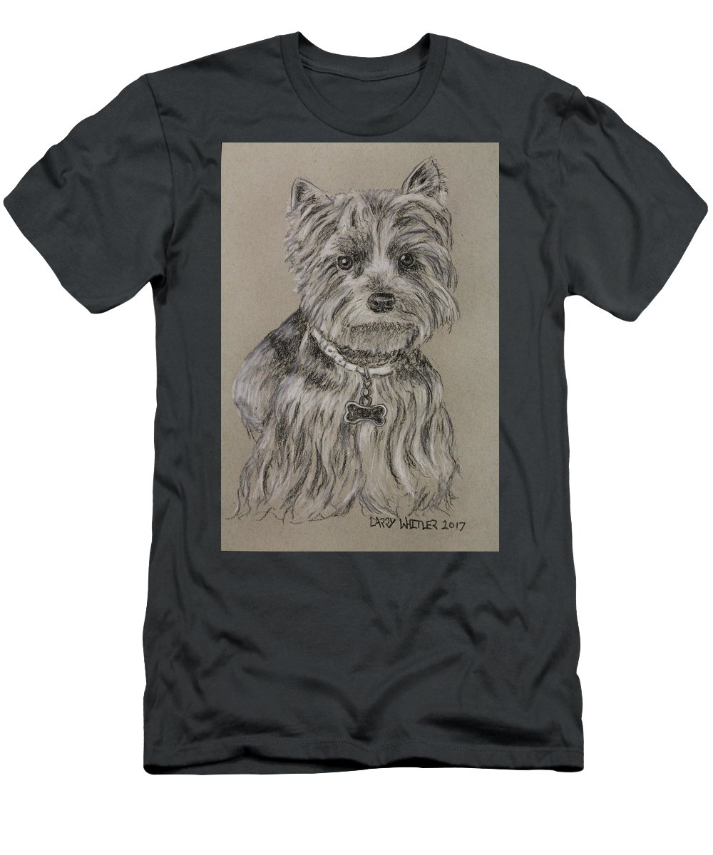 Dog Men's T-Shirt (Athletic Fit) featuring the drawing Mercedes The Shih Tzu by Larry Whitler