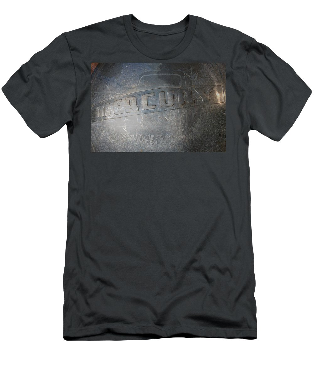 Mercury Truck Antique Auto Old Vehicle Hubcap Farm Auto Graveyard Men's T-Shirt (Athletic Fit) featuring the photograph Mercury by Andrea Lawrence