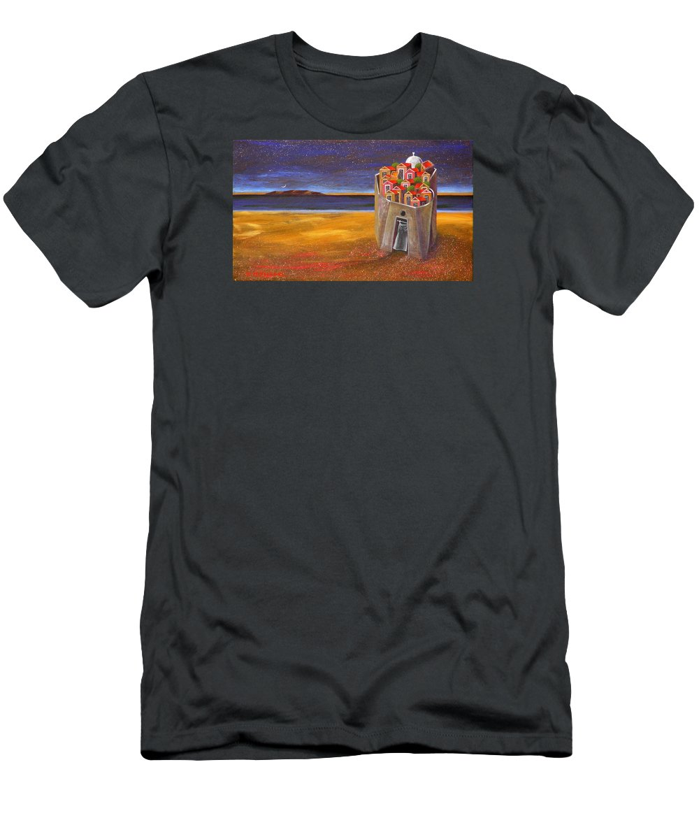 Superrealism Men's T-Shirt (Athletic Fit) featuring the painting Mesi Castle Village by Dimitris Milionis