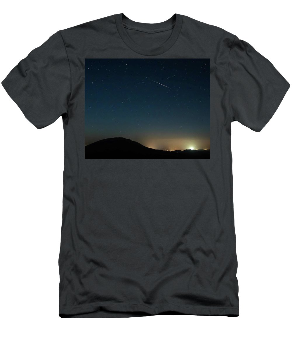 Meteor Men's T-Shirt (Athletic Fit) featuring the photograph Meteror Over House Mt. by Keith Bowen
