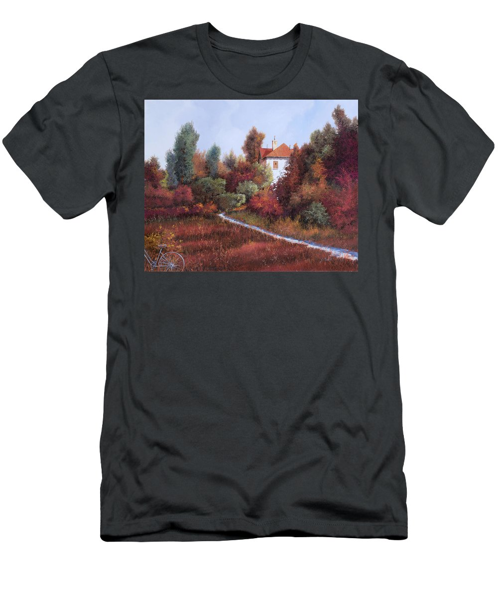 Landscape Men's T-Shirt (Athletic Fit) featuring the painting Mezza Bicicletta Nel Bosco by Guido Borelli