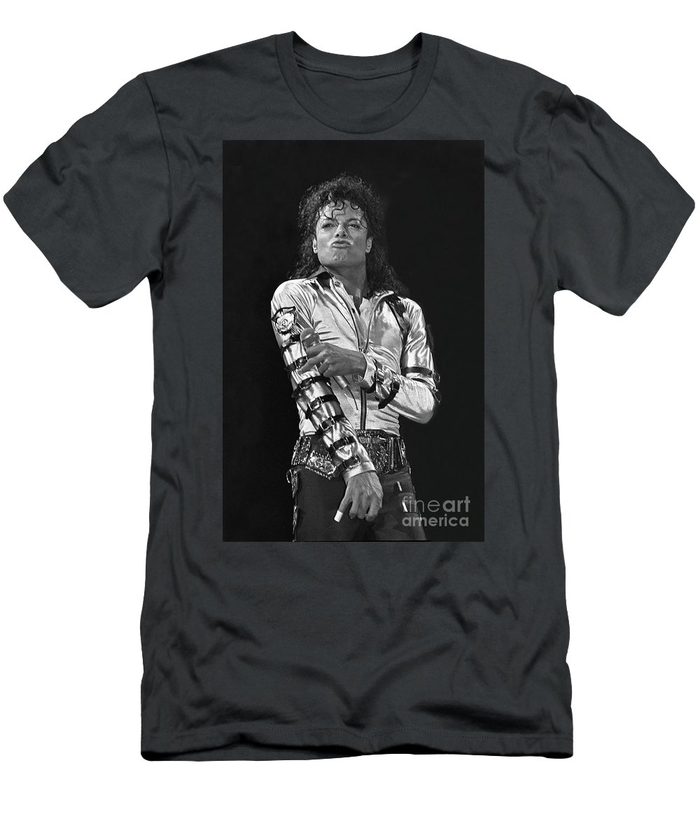 Music Legend Michael Jackson Is Shown Performing On Stage During A Live Concert Appearance T-Shirt featuring the photograph Michael Jackson - The King of Pop by Concert Photos