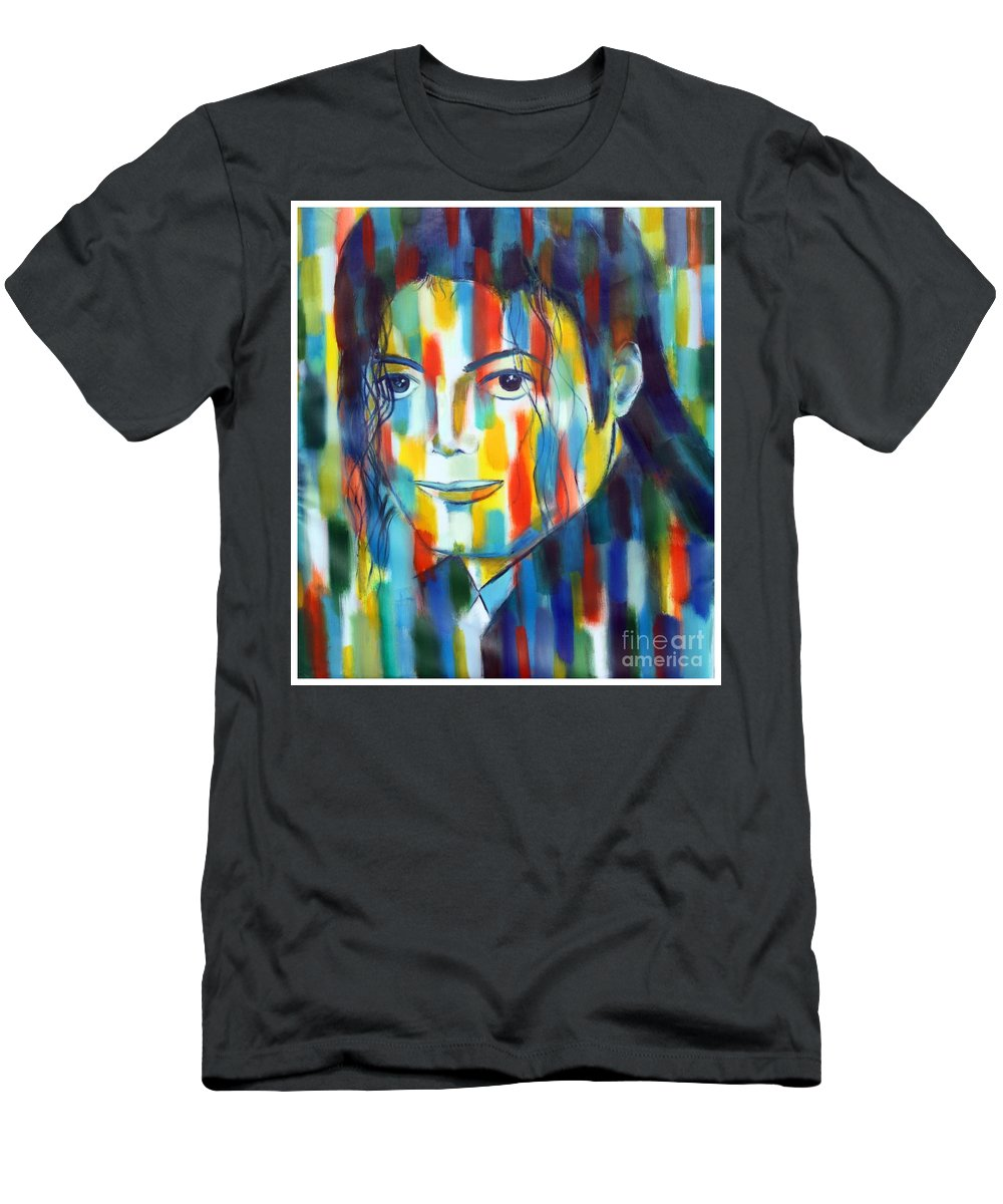 Micahel Jacson The King Of Pop Color Abstractexpressiopnism Tribute To The King Of Pop Men's T-Shirt (Athletic Fit) featuring the painting Michael Jackson The Man In Color by Habib Ayat