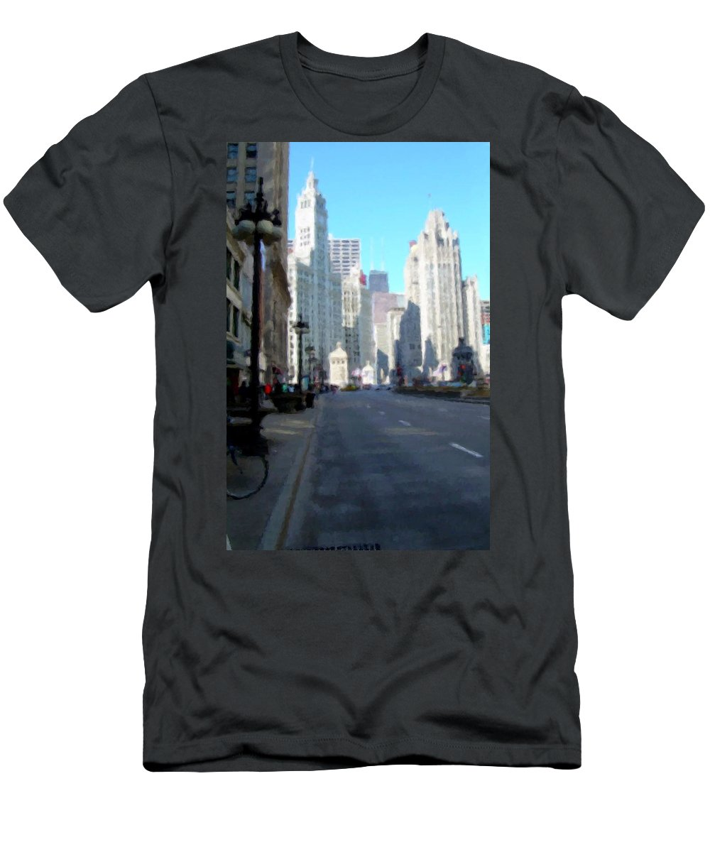 Chicago Men's T-Shirt (Athletic Fit) featuring the digital art Michigan Ave Tall by Anita Burgermeister