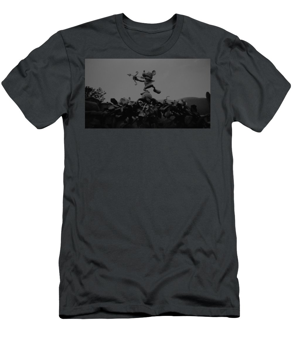 Black And White Men's T-Shirt (Athletic Fit) featuring the photograph Mickey Mouse In Black And White by Rob Hans