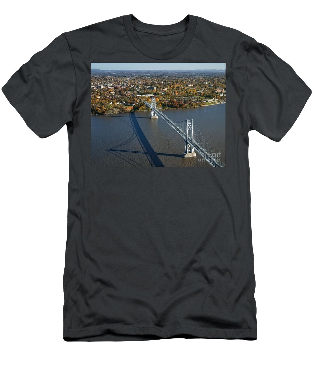 Hudson River Men's T-Shirt (Athletic Fit) featuring the photograph Mid-hudson Bridge by Claudia Kuhn