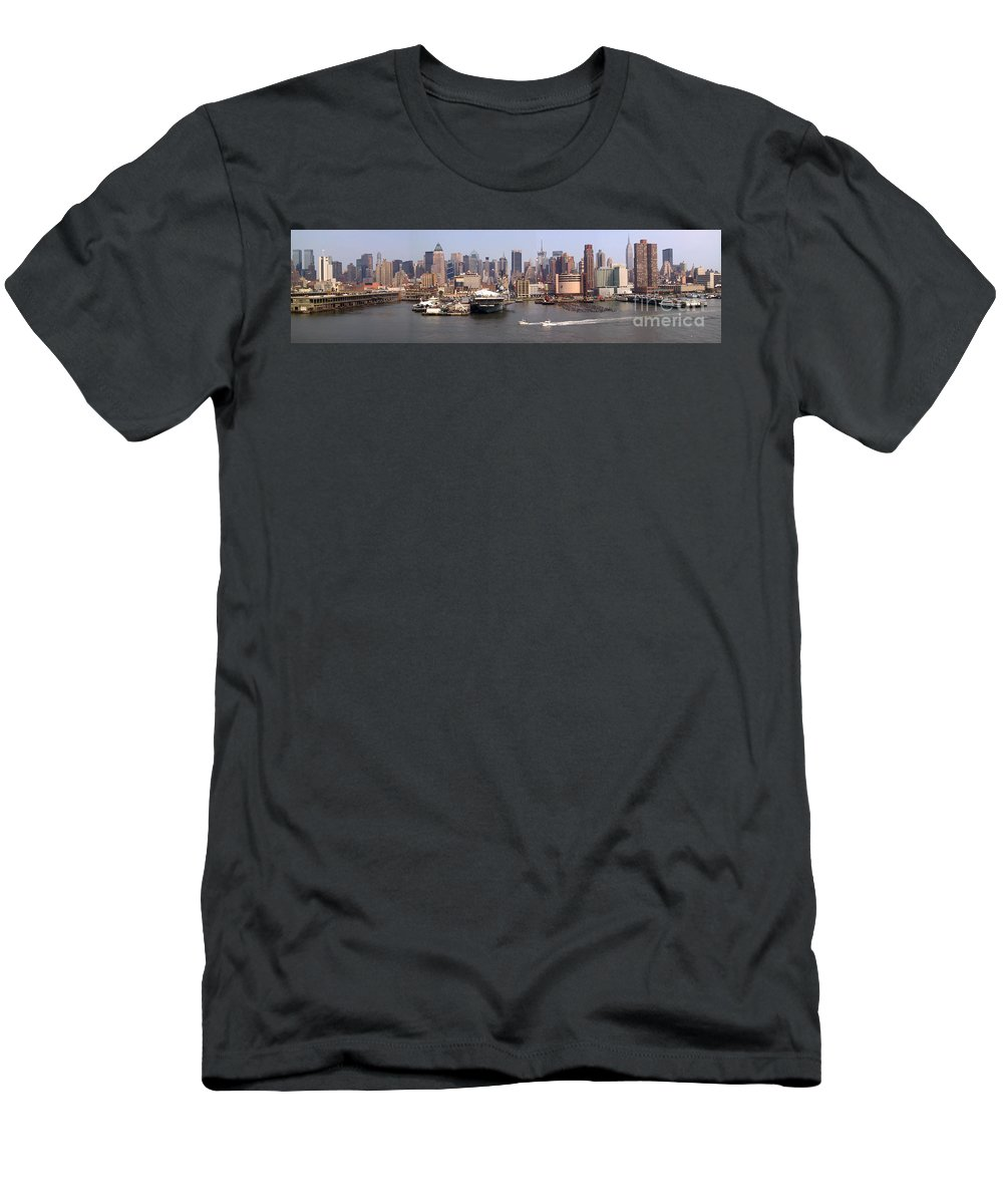 Manhattan Men's T-Shirt (Athletic Fit) featuring the photograph Midtown Manhattan Panorama by Thomas Marchessault