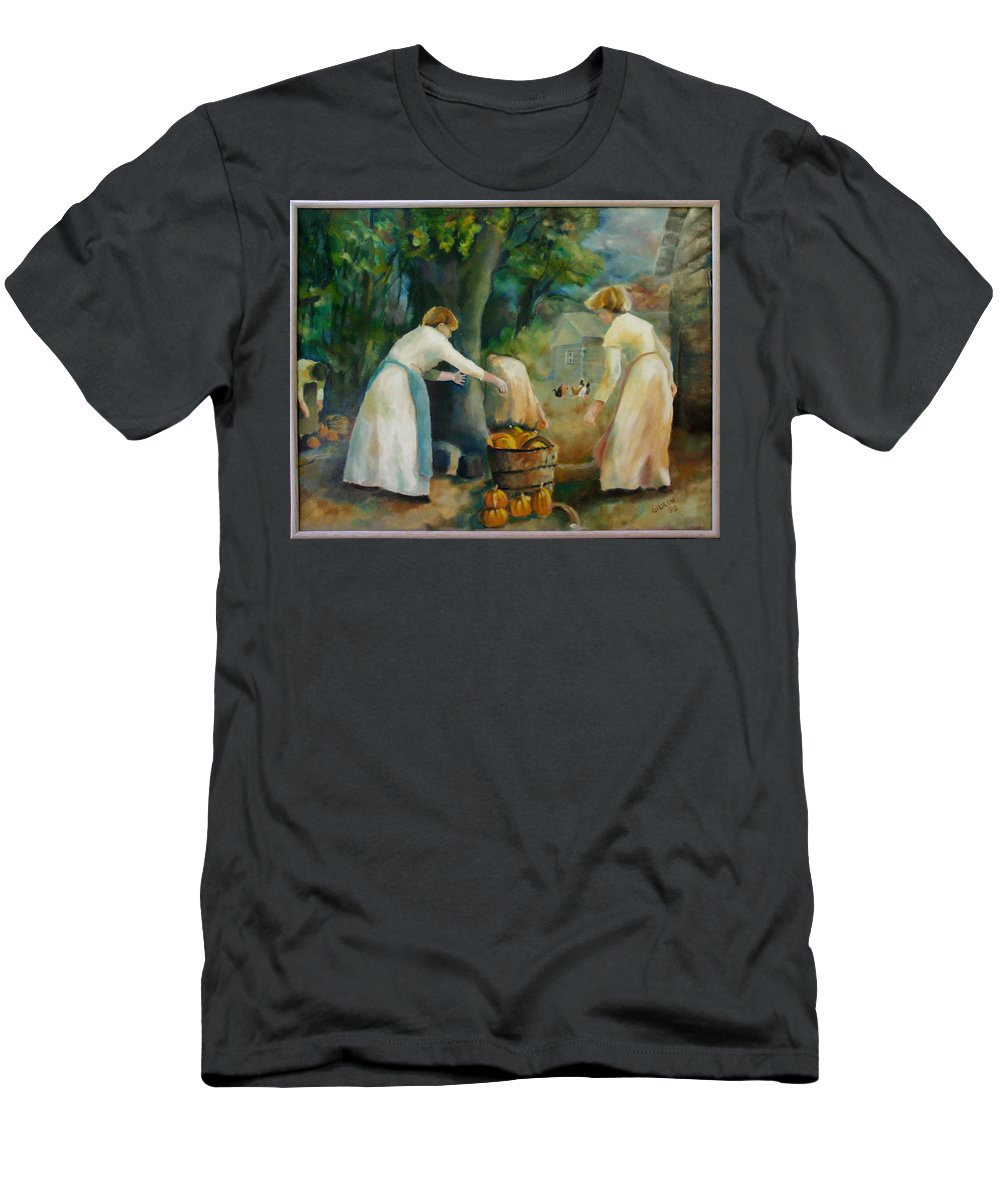 Drawing Men's T-Shirt (Athletic Fit) featuring the painting Midwestern Farming by Gideon Cohn