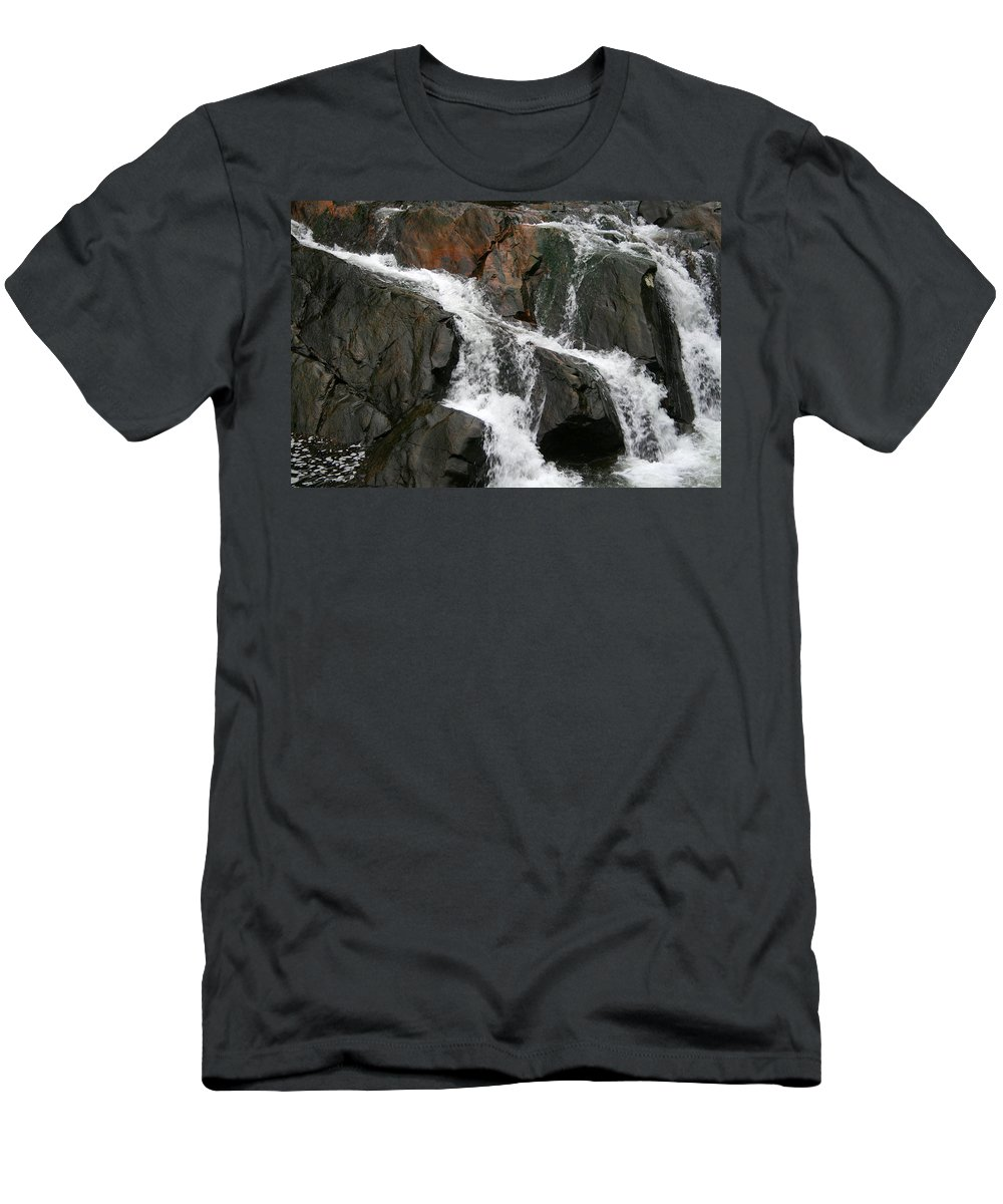 Water Waterfall Rush Rushing Cold River Creek Stream Rock Stone Wave White Wet Men's T-Shirt (Athletic Fit) featuring the photograph Might by Andrei Shliakhau